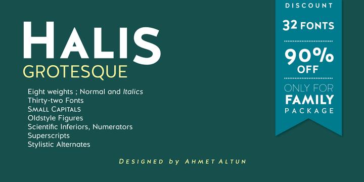 127683 - Font dňa – Halis Grotesque (zľava 90%, rodina 15,70€)