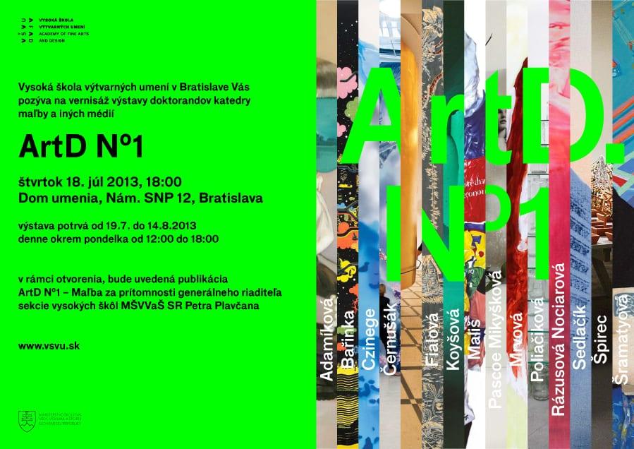 pozvanka ArtD1 - VŠVU v Bratislave pozýva na výstavu: ArtD.No1 – Umelci s titulom artis doctor