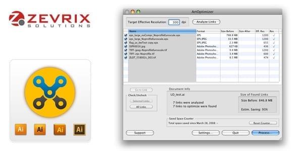 Zevrix ArtOptimizer1 - ArtOptimizer – automatické zmenšovanie veľkosti linkovaných obrázkov pre Illustrator