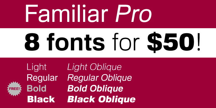 59299 - Font dňa – Familiar Pro (zľava 80%, komplet 8€)