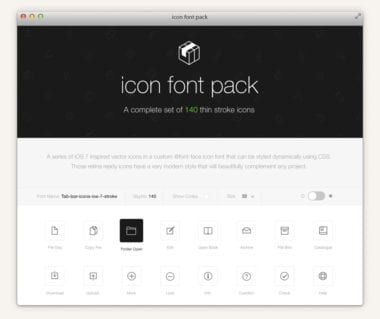 preview icon font pack thin stroke tab bar ios 7 html 380x319 - Stroke 7 Icon Font Set zadarmo