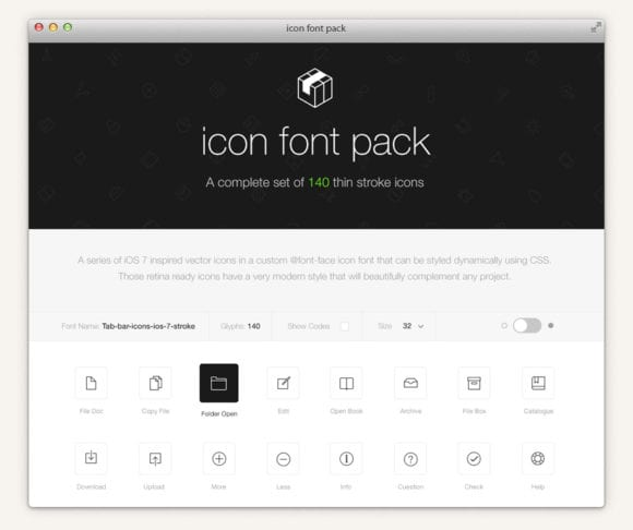 preview icon font pack thin stroke tab bar ios 7 html 580x486 - Stroke 7 Icon Font Set zadarmo