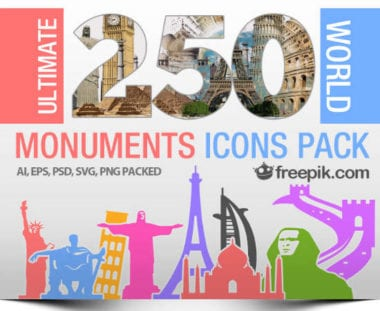 freepik monuments 6 w550 380x311 - 250 svetových monumentov ako ikony zadarmo
