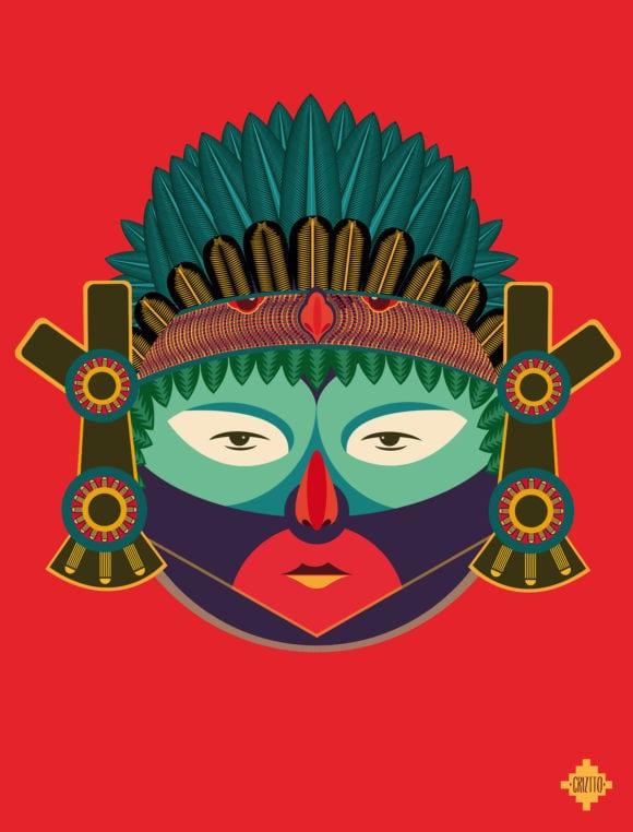 Azteca Mexiko 580x762 - Indiáni všetkých krajín, spojte sa – ilustrácie domorodých kmeňov
