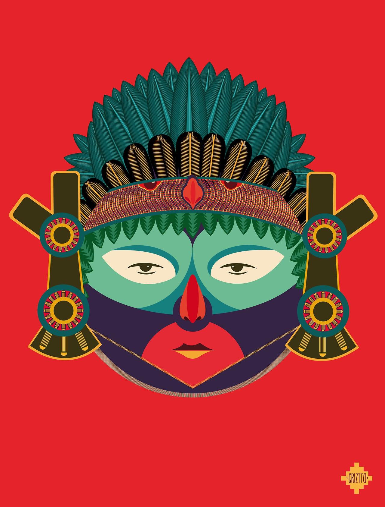 Azteca Mexiko - Indiáni všetkých krajín, spojte sa – ilustrácie domorodých kmeňov