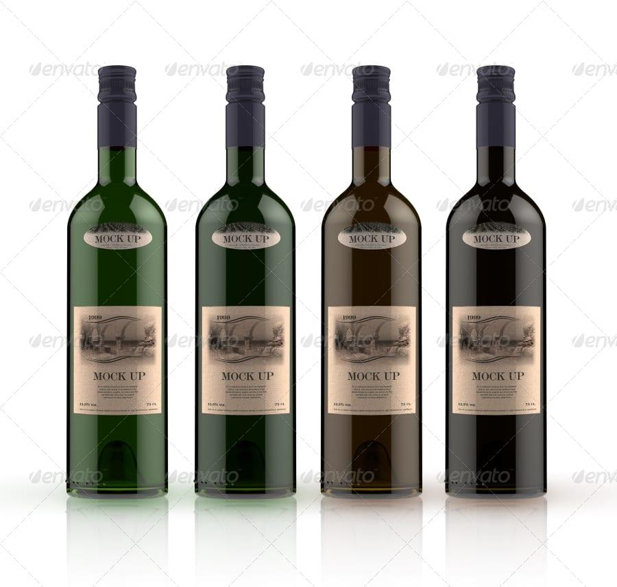 04 brown green white bg - MockUP vínovej fľaše za 4 doláre!