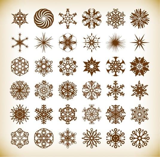 Set of Vector Snowflake Elements - Vianočné vectory zadarmo!