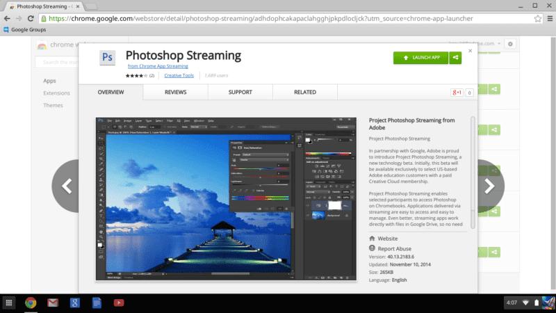 Streaming Ps in the Chrome Store.0 800x450 - Photoshop vo vašom prehliadači – Photoshop Streaming