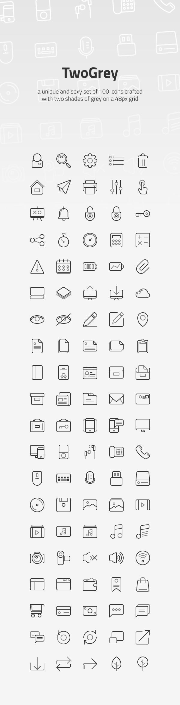 TwoGrey Icons 600 - Set pixel perfect ikoniek zadarmo!
