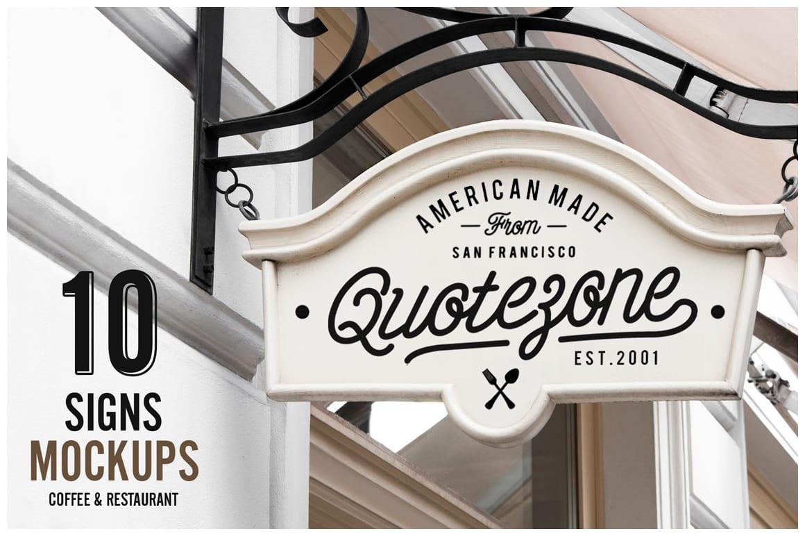 01 cm restaurant coffee shop signs mockup o - 10 mockupov vývesných štítov za 16 dolárov!