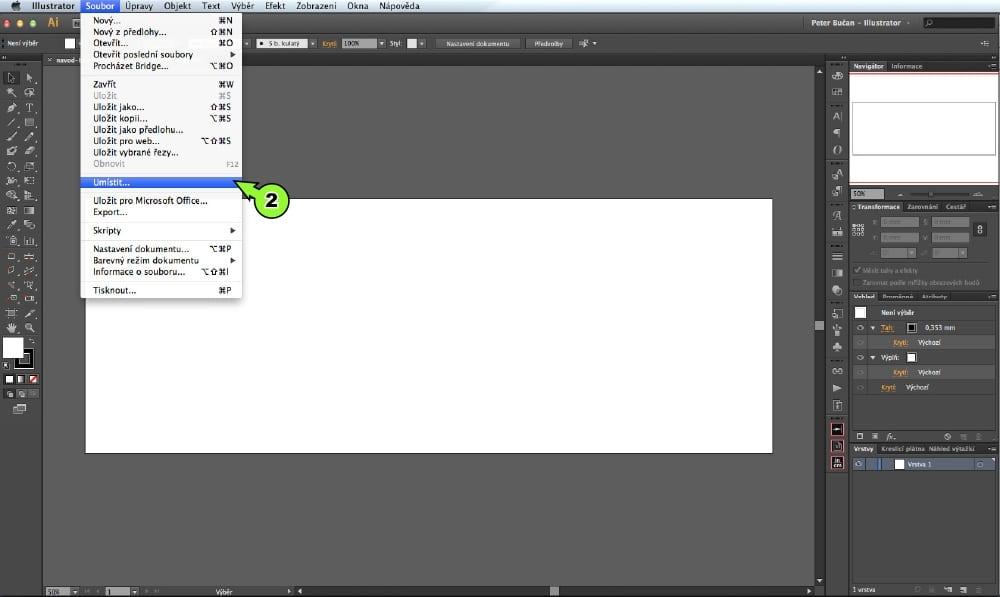 PDF prevod textu do kriviek v Adobe Illustrator - Krok 2