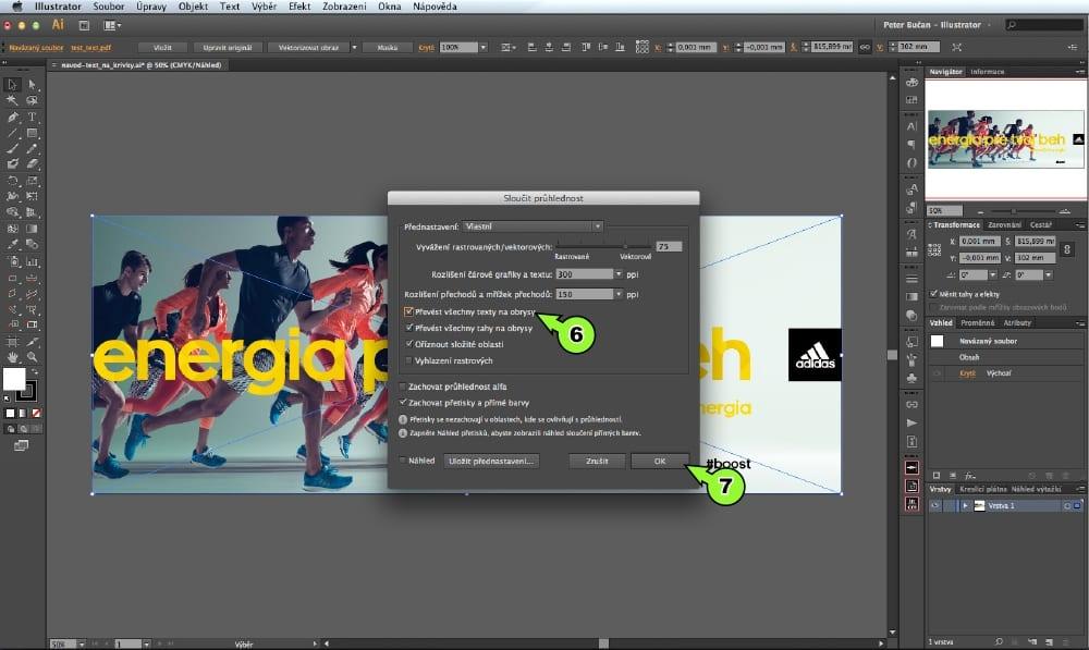PDF prevod textu do kriviek v Adobe Illustrator - Krok 6, 7