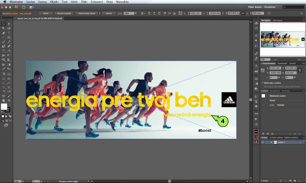 PDF prevod textu do kriviek v Adobe Illustrator - Krok 4