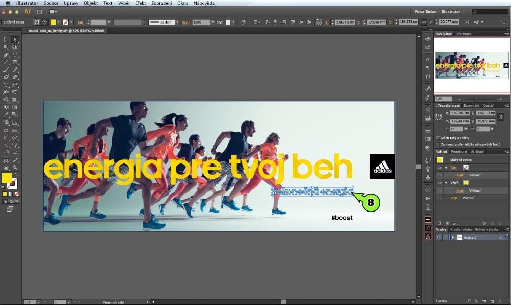 PDF prevod textu do kriviek v Adobe Illustrator - Krok 8