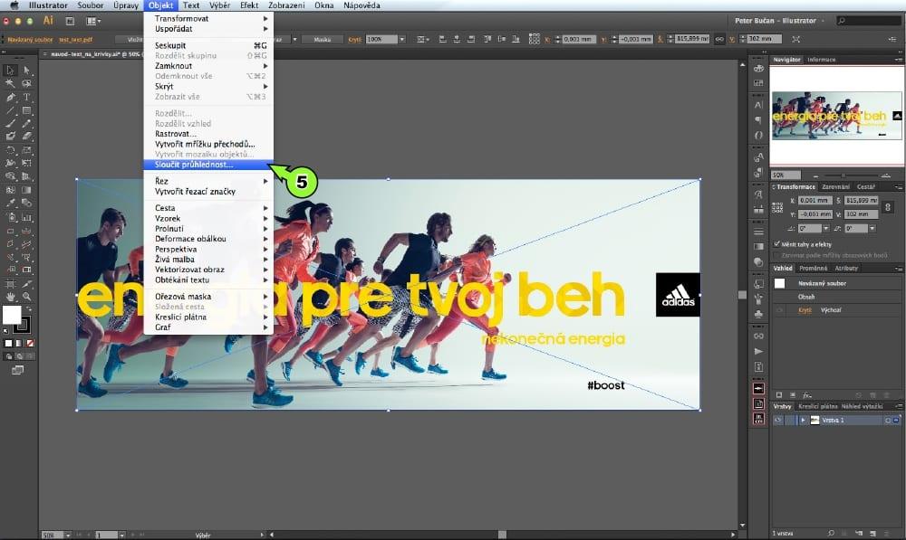 PDF prevod textu do kriviek v Adobe Illustrator - Krok 5