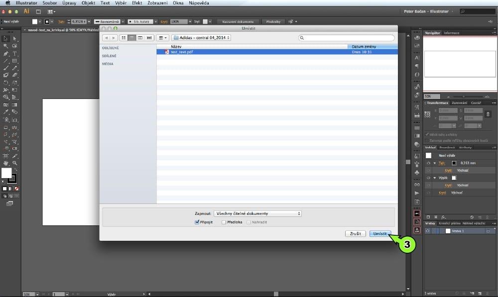 PDF prevod textu do kriviek v Adobe Illustrator - Krok 3