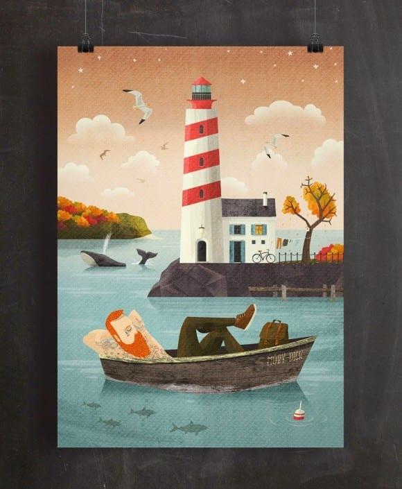 adrian macho seaside spirit ilustracia my kreativci Lighthouse_autumn_Poster_Mockup