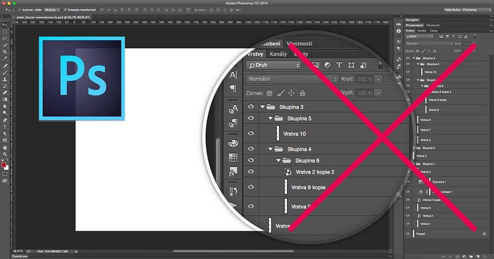 Dobrý dizajnér - 01. prehľadné vrstvy - Photoshop nesprávne