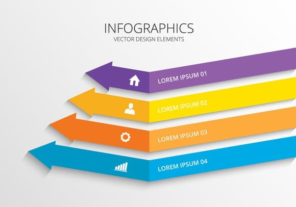 infographic 3d arrow style colorful Vector illustration.