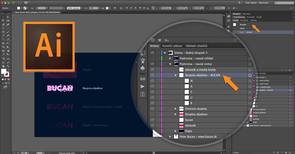 Dobrý dizajnér - 02. vrstvy avzhľad - Skupina objektov