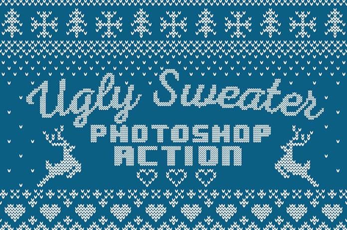 1 Christmas sweater Photoshop action - Stiahnite si set Christmas Sweater Photoshop efektov za 15 dolárov!