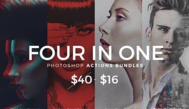 four in one  380x220 - Pestrý balík Photoshop akcií za 16 dolárov!
