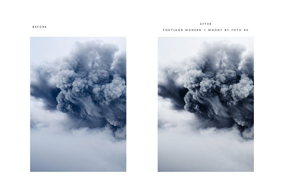 pdx before and after volcano cm - Modern Moody Photoshop Action za 50 dolárov
