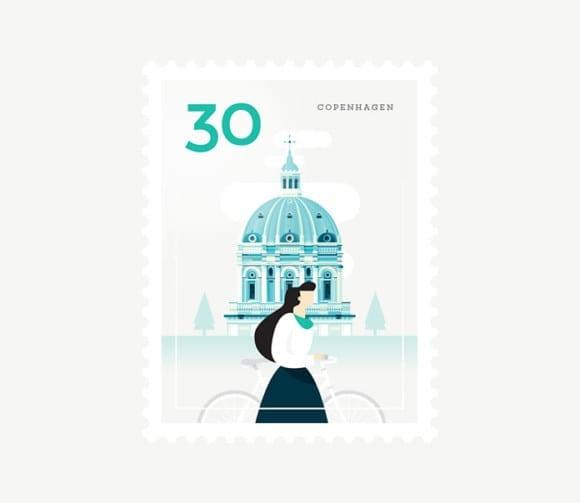 Copenhagen 580x503 - Ilustrované známky zachytávajú dominanty z celého sveta