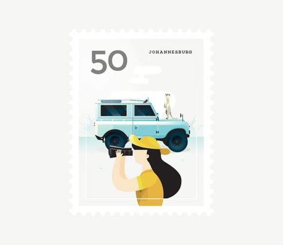 Johannesburg 580x503 - Ilustrované známky zachytávajú dominanty z celého sveta