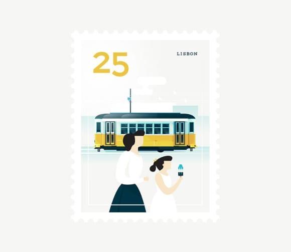 Lisbon 580x503 - Ilustrované známky zachytávajú dominanty z celého sveta