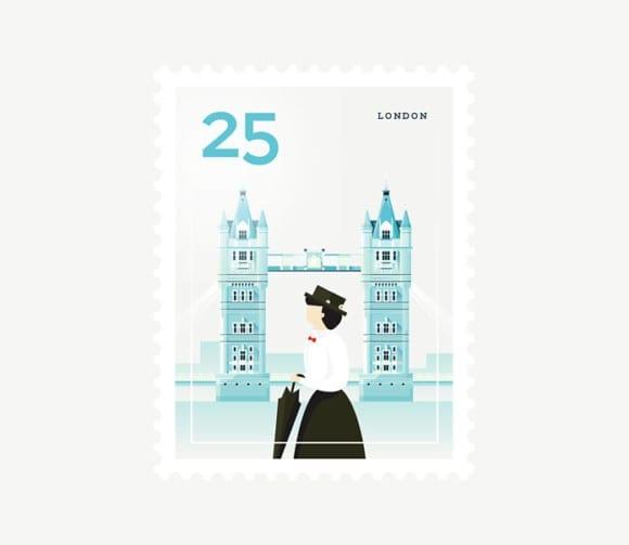 London 580x503 - Ilustrované známky zachytávajú dominanty z celého sveta