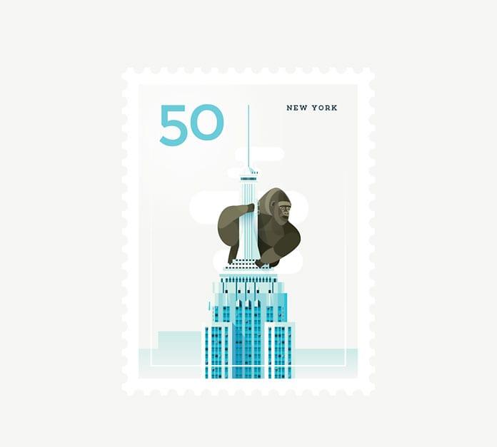 New York City 1 - Ilustrované známky zachytávajú dominanty z celého sveta