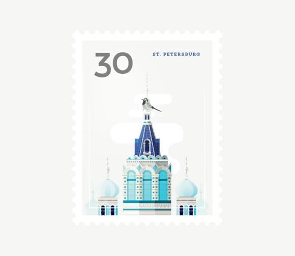 St. Petersburg 580x503 - Ilustrované známky zachytávajú dominanty z celého sveta
