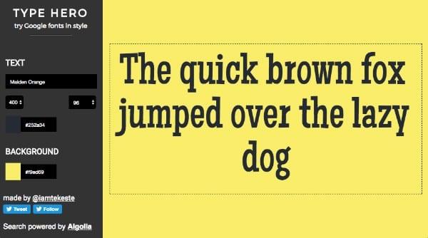Type Hero Google Fonts Style Color 1 - Vyzkoušejte Google fonts v různých barvách a stylech s pohodlným nástrojem