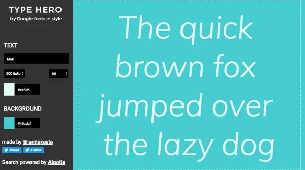 Type Hero Google Fonts Style Color 3 - Vyzkoušejte Google fonts v různých barvách a stylech s pohodlným nástrojem