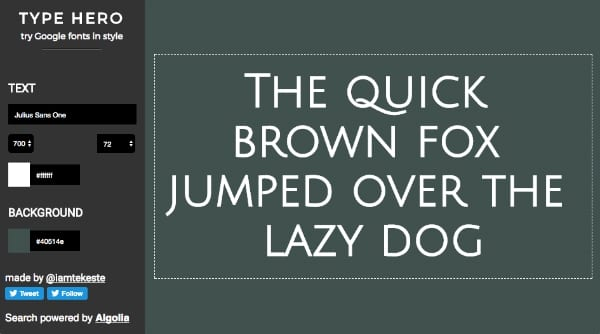Type Hero Google Fonts Style Color 4 - Vyzkoušejte Google fonts v různých barvách a stylech s pohodlným nástrojem