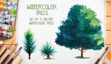 creativemarket trees 1  380x220 - Set akvarelových stromov za 15 dolárov!