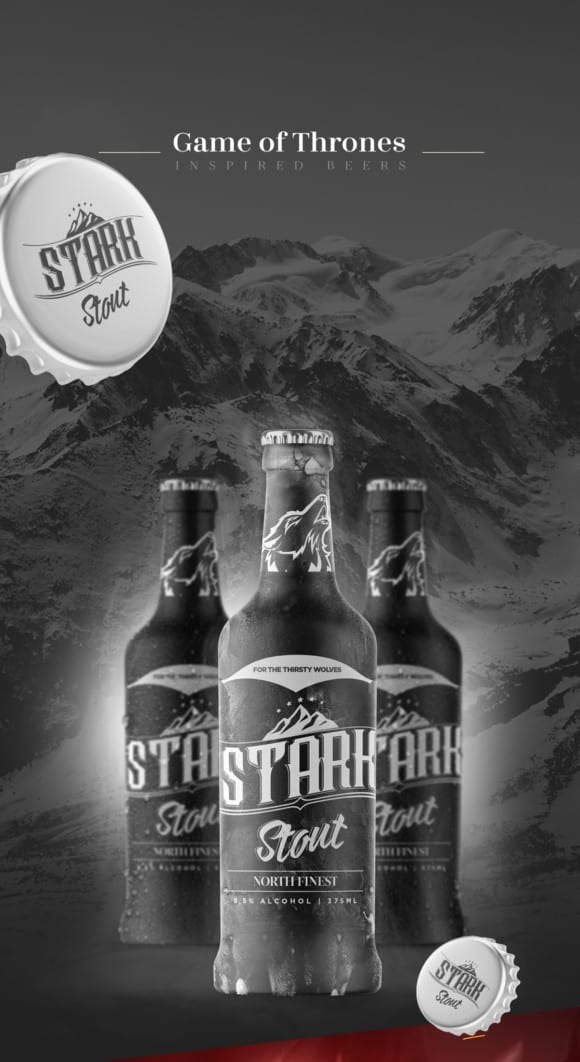 Game of Thrones Beers 1 580x1062 - Řada piv Game of Thrones (koncept)