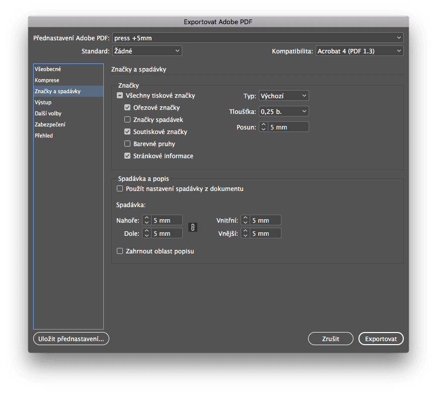 indesign export 3 - Príprava tlačového PDF – Adobe InDesign + export