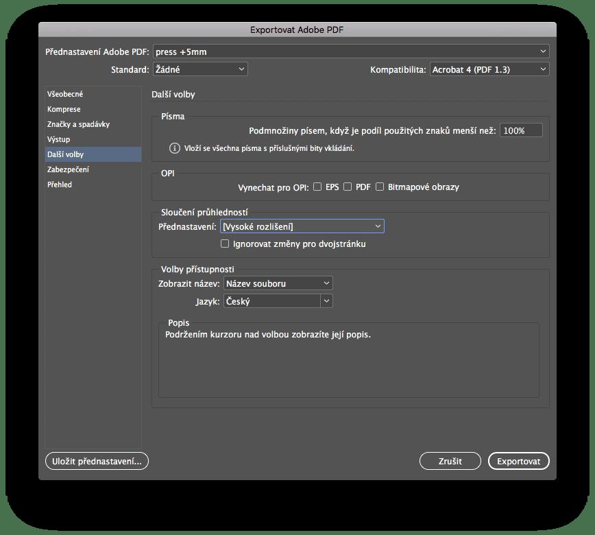 indesign export 5 - Príprava tlačového PDF – Adobe InDesign + export