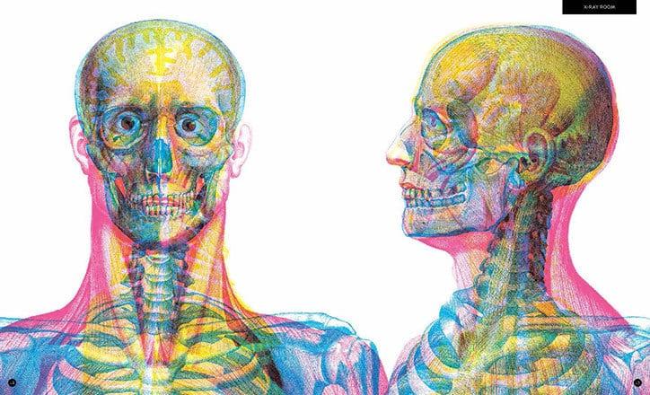 Carnovsky Illumanatomy book Wide Eyed editions publication itsnicethat 3 - Carnovsky ilustruje lidské tělo pod rentgenovým paprskem pomocí techniky RGB ilustrace