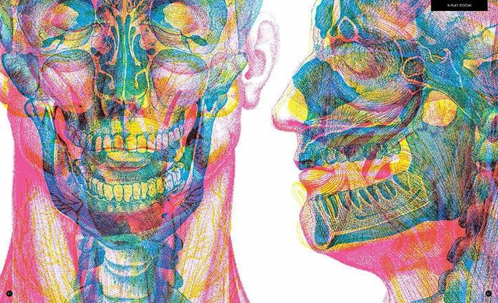 Carnovsky Illumanatomy book Wide Eyed editions publication itsnicethat 5 - Carnovsky ilustruje lidské tělo pod rentgenovým paprskem pomocí techniky RGB ilustrace