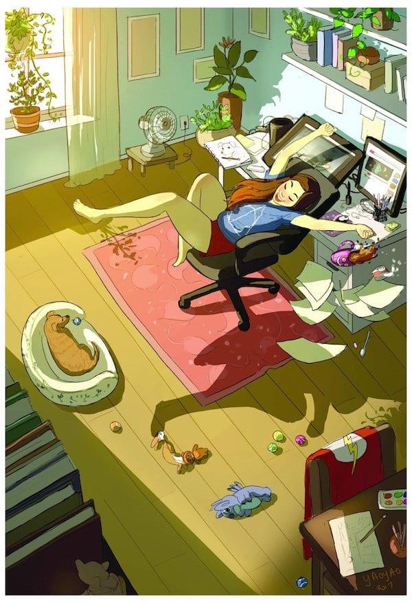 2 Illustrator YaoyaoMaVanAs Happiness Perks Living On Your Own - Ilustrátorka trefne zhrnula výhody šťastného života na vlastnú päsť