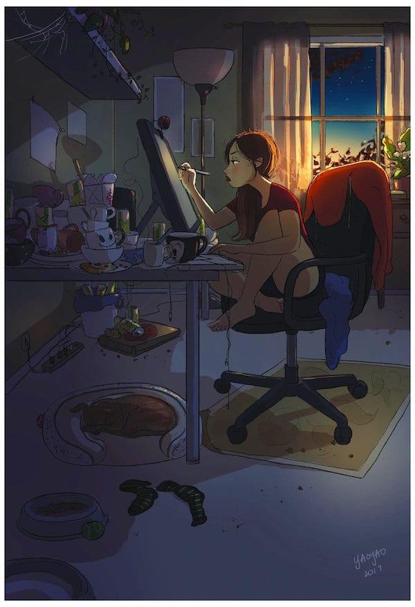 3 Illustrator YaoyaoMaVanAs Happiness Perks Living On Your Own - Ilustrátorka trefne zhrnula výhody šťastného života na vlastnú päsť
