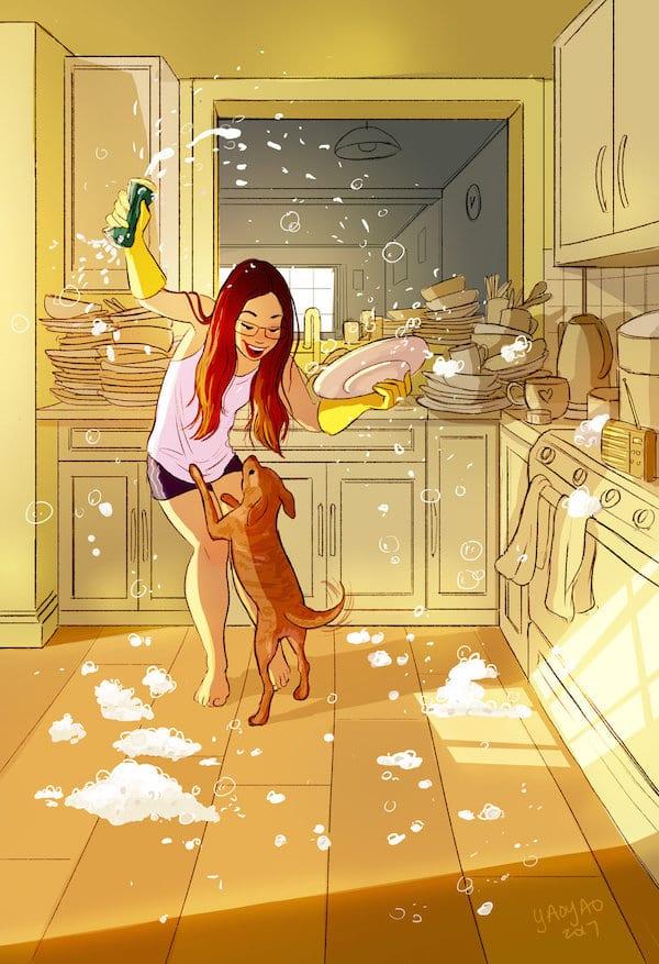 6 Illustrator YaoyaoMaVanAs Happiness Perks Living On Your Own - Ilustrátorka trefne zhrnula výhody šťastného života na vlastnú päsť