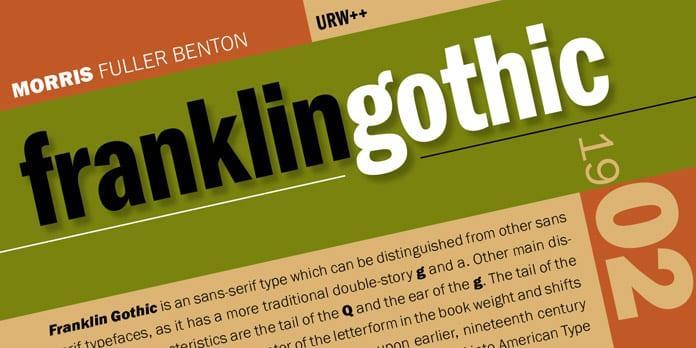 Franklin Gothic - 10 nejdůležitějších písem vgrafickém designu