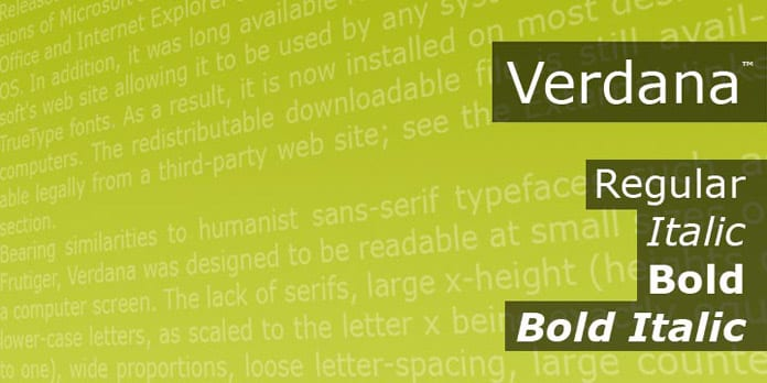 Verdana - 10 nejdůležitějších písem vgrafickém designu