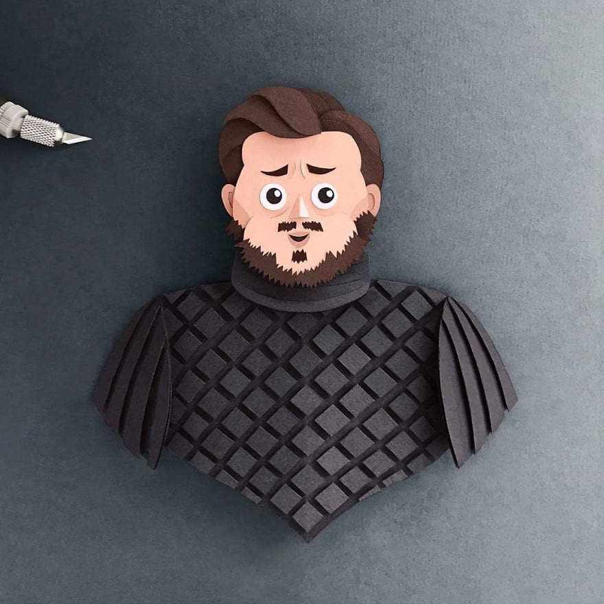 Artist makes the Game of Thrones characters on paper and the result is wonderful 5a9cad94d0c4d  880 - Netradičné portréty obľúbených hrdinov z Game of Thrones