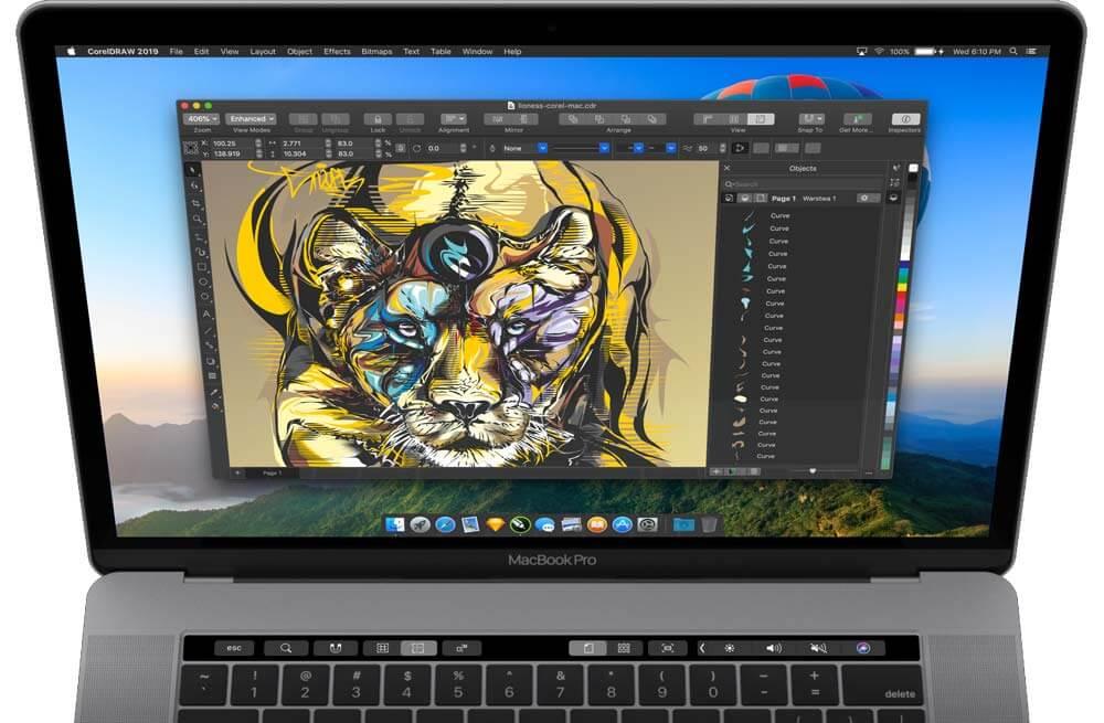 included touchbar 2019 - CorelDRAW sa po takmer dvadsiatich rokoch vracia na Mac